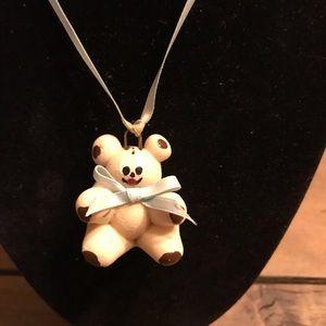 Other - Teddy Bear Dough Pendant on Blue Ribbon